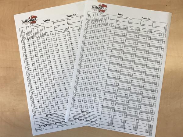 50 Skat-Spiellisten, zweiseitig, 3er/4er Tisch