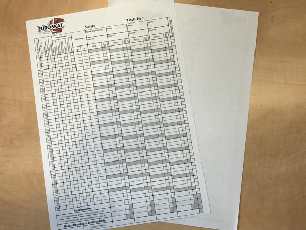 100 Skat-Spiellisten, einseitig, 4er Tisch